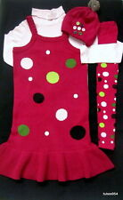 Gymboree Pups and Kisses Dot Sweater Dress Tights Button Hat Top Shirt 10 11 12