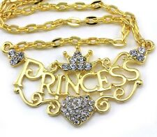 Crown Princess Tiara Heart Choker Necklace Clear Crystal Gold Tone Kids Pendant