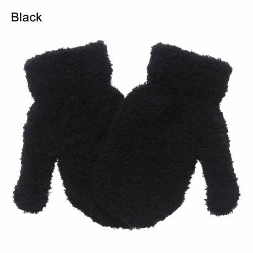Candy Color Kids Winter Coral Plush Gloves Baby Full Fingers Soft Warm Mittens
