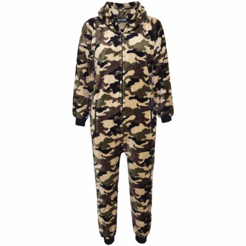 Enfants Filles Garçons Extra Doux Camouflage Armée /& Renne A2Z Onesie one piece de Noel