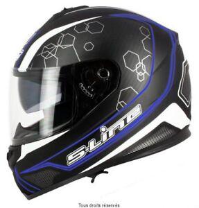 Casque-Moto-Scooter-Integral-S-Line-S440-double-visiere-noir-bleu-taille-L