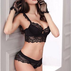 UK Size Sheer Lace Balcony Bra Set Thin Padded Push Up Bra   Pants ... c24a30ae6
