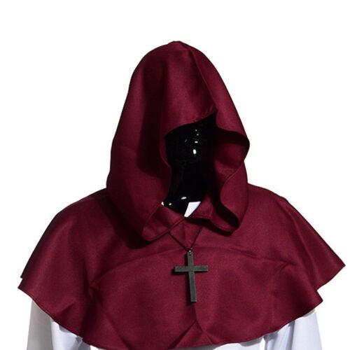 Unisex MEDIEVALE Cappuccio Cappello strega di Halloween Mantello con
