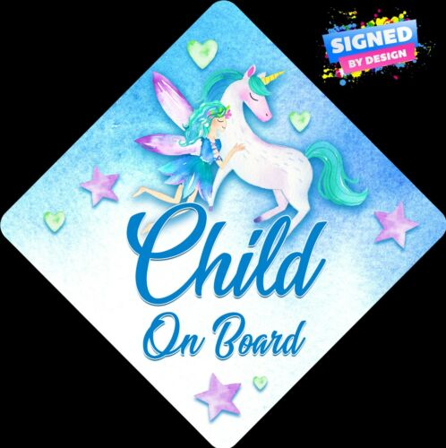 Non Personalised Child//Baby On Board Car Sign~Fairy /& Unicorn ~ Child On Board