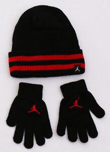 bd08e979bf6 Nike Jordan Black   Red Knit Cuff Beanie   Stretch Gloves Youth ...