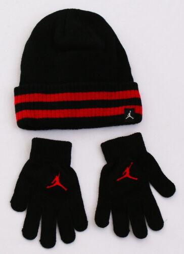 Nike Jordan Black /& Red Knit Cuff Beanie /& Stretch Gloves Youth Boy/'s 8-20 NWT