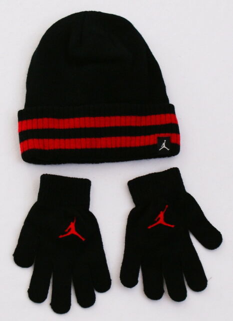 47b73c0614b Nike Jordan Black   Red Knit Cuff Beanie   Stretch Gloves Youth Boy s 8-20