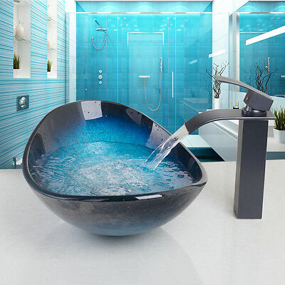 Bathroom Tempered Glass Bowl Sink Vessel Sink Faucet Wash Basin Waterfall Faucet