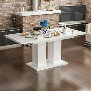 Details zu Küche Esstisch Weiß Hochglanz Speisetisch 80x130 Ausziehtisch  Tisch Säulen Tisch