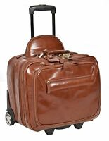 Real Leather Laptop Pilot Case Business Weekend Bag On Wheels Sturdy Chestnut