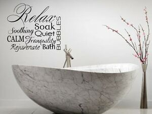 RELAX Collage Vinyl Lettering Decal Words Wall Sticker Bathroom - Wall decals relax