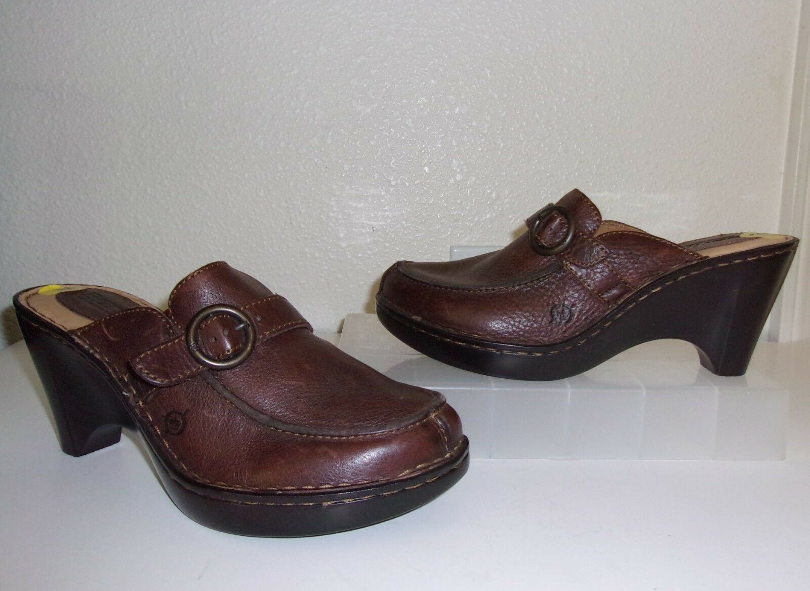 Born Brown Leather Clogs Size 9 shoes Mules Heels Slides
