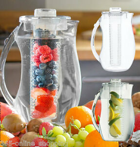 fruit infusion pitcher water jug 2 7l with ice core flavour infuser cooler ebay. Black Bedroom Furniture Sets. Home Design Ideas