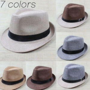 Summer Men Women Beach Sun Hat Jazz Panama Unisex Trilby Fedora Hat ... 2cbdf8ce7989