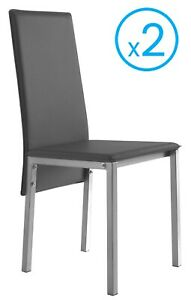 Detalles de Conjunto 2 sillas color gris modernas comedor salon polipiel  modernas 94x53x43