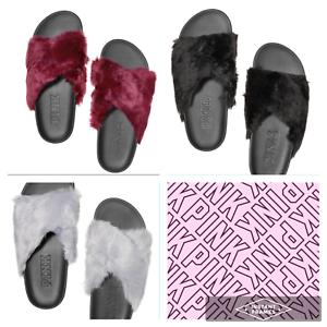 920e2e9ad1265 Details about Victoria's Secret Faux Fur Slides PINK Sandals Criss Cross  Black Gray Ruby S M L