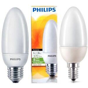 10X-PHILIPS-Bougie-Ampoule-5W-8W-12W-ES-basse-consommation-E27-E14