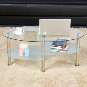 Modern Glass Top Coffee Table Sofa Side Table Living Room Stainless