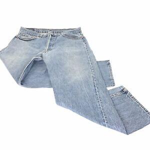 1980s Vintage 32\u201d x 30\u201d Levi\u2019s 501 Red Tab Button Fly Straight Leg Medium Wash Cotton Denim Jeans