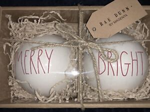 Details About Rae Dunn Christmas Ornaments Merry Bright Ll Red Letters 2 Ornament Set Large Sz