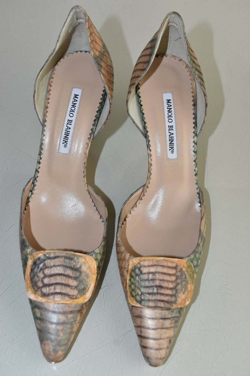 1290 NEW Manolo Blahnik EXOTIC EXOTIC EXOTIC PYTHON Pumps Dorsay marron vert Taupe chaussures 41 5050ad