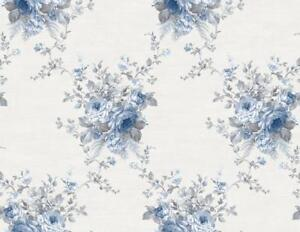 Wallpaper-Designer-Blue-Floral-Bouquet-Trellis-on-Eggshell-White