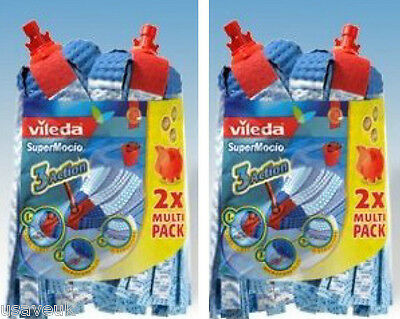 Vileda Supermocio 3 Action twin pack confezione doppia testa di ricambio ricarica Confezione da 2