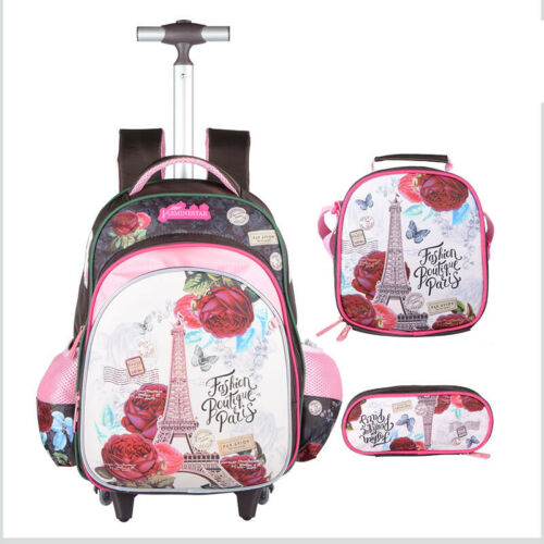 "3PC Kid Boy Girl Schoolbag 2 Wheels Rolling 16/"" Luggage Backpack Pen Lunch Bag"