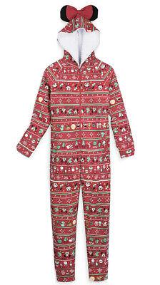 Disney Parks 2020 Holiday Christmas Minnie Mouse Bodysuit Pajamas Adult Sz L