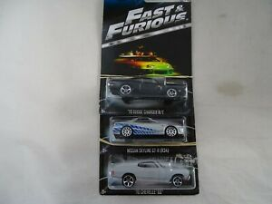 1:64 Hot Wheels 3 Fast & Furious Dodge Charger-Nissan Skyline-Chevelle Ss
