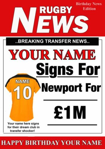 A5 Personalised Newport County  FAN Greeting Birthday Card any name Rugby PID081