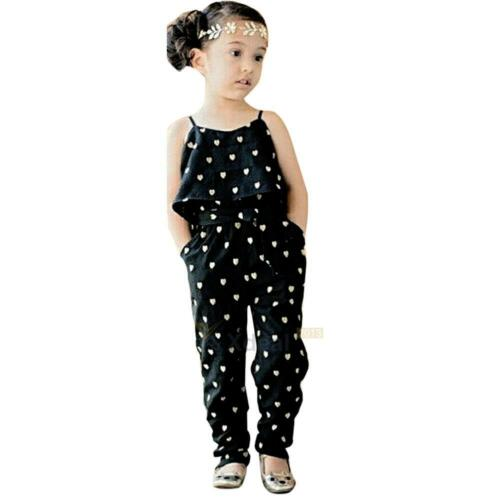 Toddler Baby Girls Strap Romper Jumpsuit Heart Harem Pants Trousers Kids Clothes