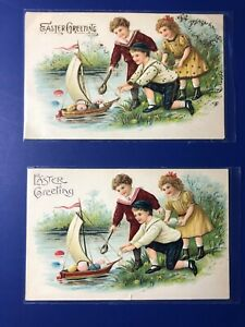 2-Easter-Antique-Postcards-1900s-Children-One-w-Gold-Collector-Items-Value