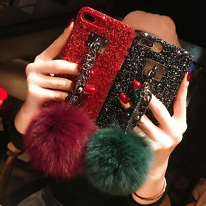 Bling Glitter Diamond Chain w/ Plush Ball Case Cover For iPhone 11 XS MAX XR 7 8