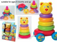 New Funtime Pull Along Teddy Stacker Stacking Baby Toddler Learning Toy