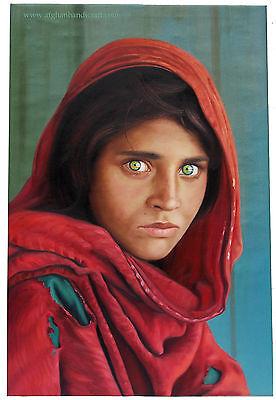 Sharbat Gula Steve McCurry Afghan Mädchen portrait Ölbild Leinwand Afghanistan