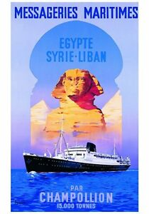 VINTAGE-TRAVEL-POSTER-EGYPTE-SYRIE-LIBAN-Guena-French-Maritime-Art-Print-28x40