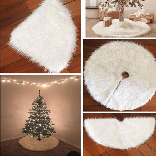 White Plush Cotton Christmas Tree Skirt Aprons Carpet Xmas Home Decorations