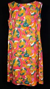 RARE-FRENCH-VINTAGE-1970-039-S-COLORFUL-P-MAX-STYLE-PRINT-POLY-CREPE-DRESS-SZ-14