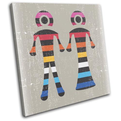 Boy Girl Colourful Illustration SINGLE CANVAS WALL ART Picture Print VA