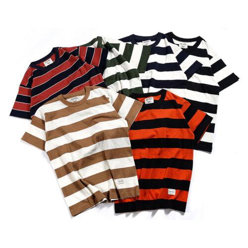 Vintage Men/'s Prisoner Striped T-Shirts Causal Motorbike Short Sleeve Tee Shirt