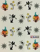 Nail Art Water Decals Halloween Ghost Black Cat Spider Jack-o-Lantern BLE920