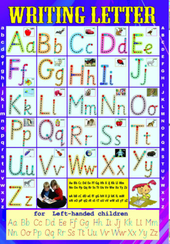right poster laminated  WRITING ENGLISH LETTERS handwriting left A2 size