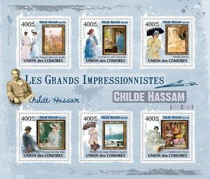 Stamps United Paintings Of Childe Hassam Painting M/s Comores 2009 Mi 2489-2494 Mnh Cm9325a Art