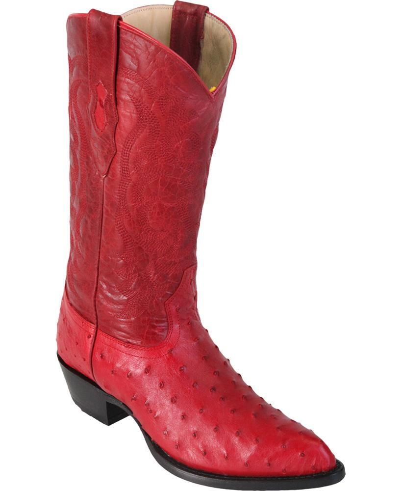 LOS ALTOS MEN RED GENUINE FULL QUILL OSTRICH WESTERN COWBOY BOOT J-TOE (EE+)