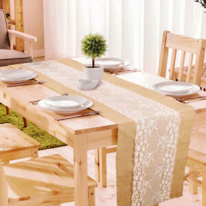 Image Is Loading Rustic Lace Burlap Wedding Party Table Runner Country