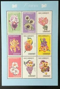 A226-MOZAMBIQUE-2002-Flowers-Sheetlet-of-9-stamps-Mint-NH