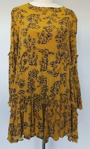 Ebby-and-I-Size-8-Mustard-Yellow-Floral-Tiered-Long-Sleeve-Ruffle-A-Line-Dress