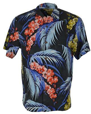NWT $89 Tommy Bahama SS Black Blue Palm Frond Camp Shirt Mens Silk Floral NEW