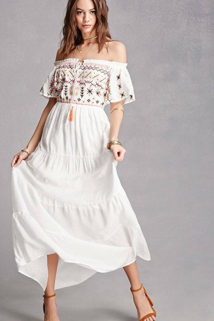 436c2a5dd9 Forever 21 White floral maxi dress Small S embroidered nobudh3025-Dresses